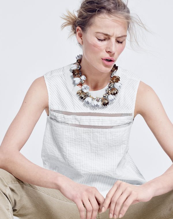 J.Crew women's pleated cotton shirt in white and garden party necklace.