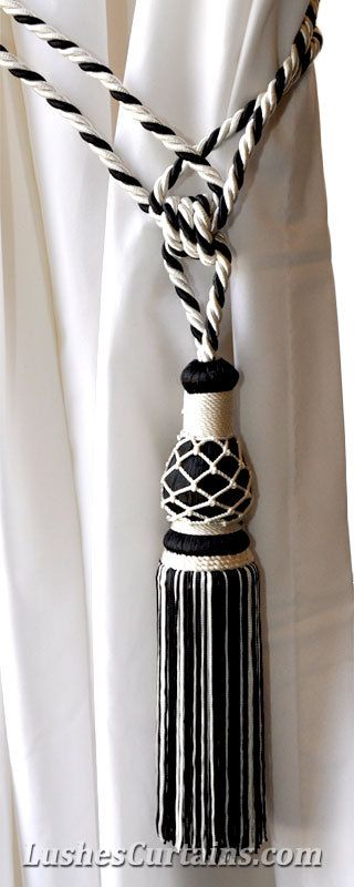 1 Luxury Handmade Black & White Curtain Drape Rope Tassel Tie-Back/Holdback Home Window Treatment Drapery Cord Hardware Supply/Chair Decor by LushesCurtains on Etsy