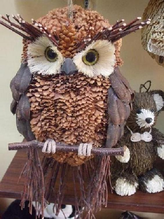 Owl made with pinecones and more