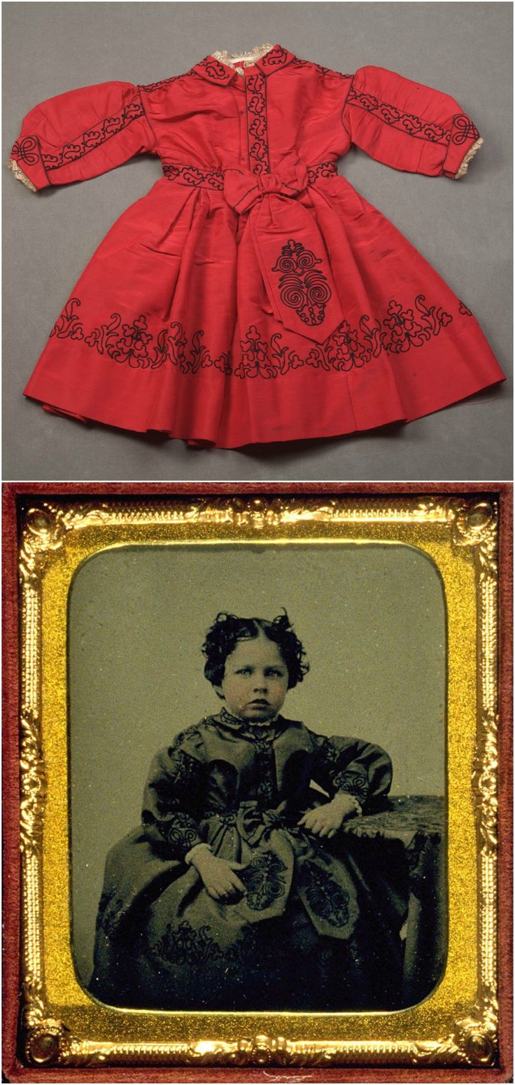 Top: Child's dress, 1865. Bottom: Portrait of Emily Tucker at age four, 1864, wearing the same dress. De Young Museum. See: http://art.famsf.org/childs-dress-41134
