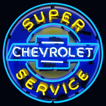 Super Chevy Service Neon Sign With Backing