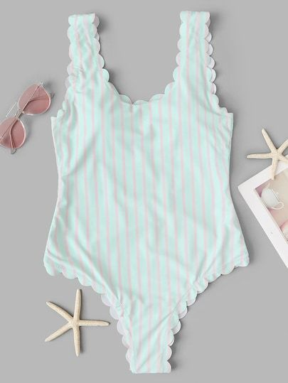 63df1eaf8f Shop Low Back Scalloped Trim Striped One Piece Swimsuit online. ROMWE  offers Low Back Scalloped Trim Striped One Piece Swimsuit   more to fit  your ...