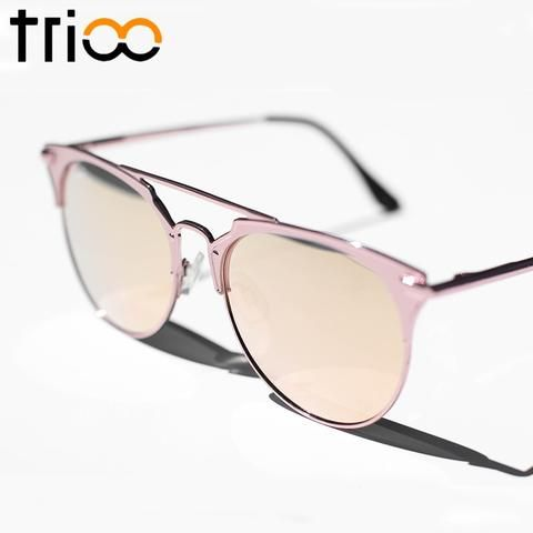 5b098e344d TRIOO Mirror Rose Gold Sunglasses Women Round Trending Brand Female Sun  Glasses For Women New Fashion Oculos Star Style Shades