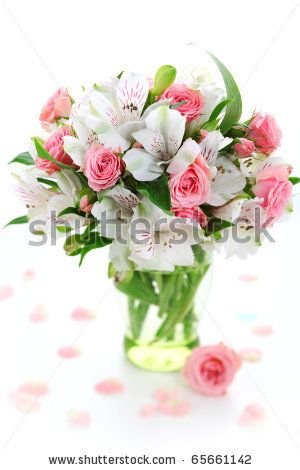 stock photo : Beautiful bouquet alstroemeria and rose on white isolated background
