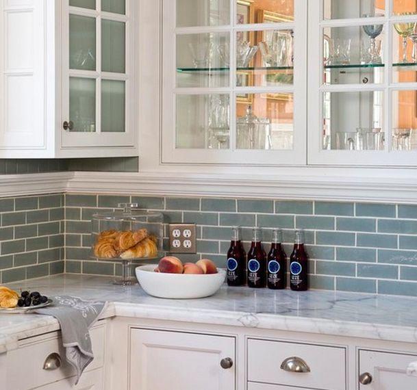 kitchen backsplash blue subway tile. White Kitchen Cabinets Blue Glass Backsplash - Design Photos, Ideas And Inspiration. Amazing Gallery Of Interior Decorating Subway Tile