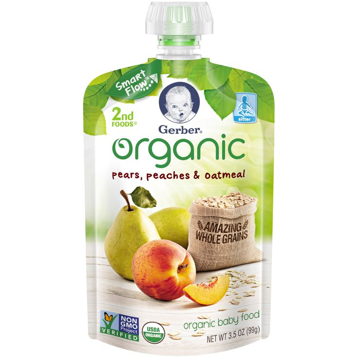 Gerber® 2nd Foods® Organic Fruit & Grain Pear Peach Oatmeal Baby Food, 3.5 oz