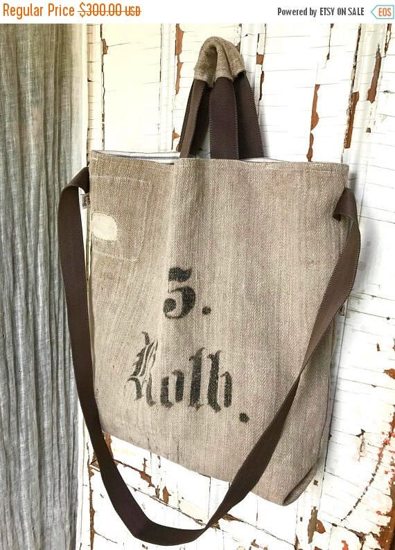 LABOUR DAY SALE 5 Roth - reconstructed vintage linen grain sack messenger tote bag by yahbag on Etsy https://www.etsy.com/ca/listing/524432570/labour-day-sale-5-roth-reconstructed