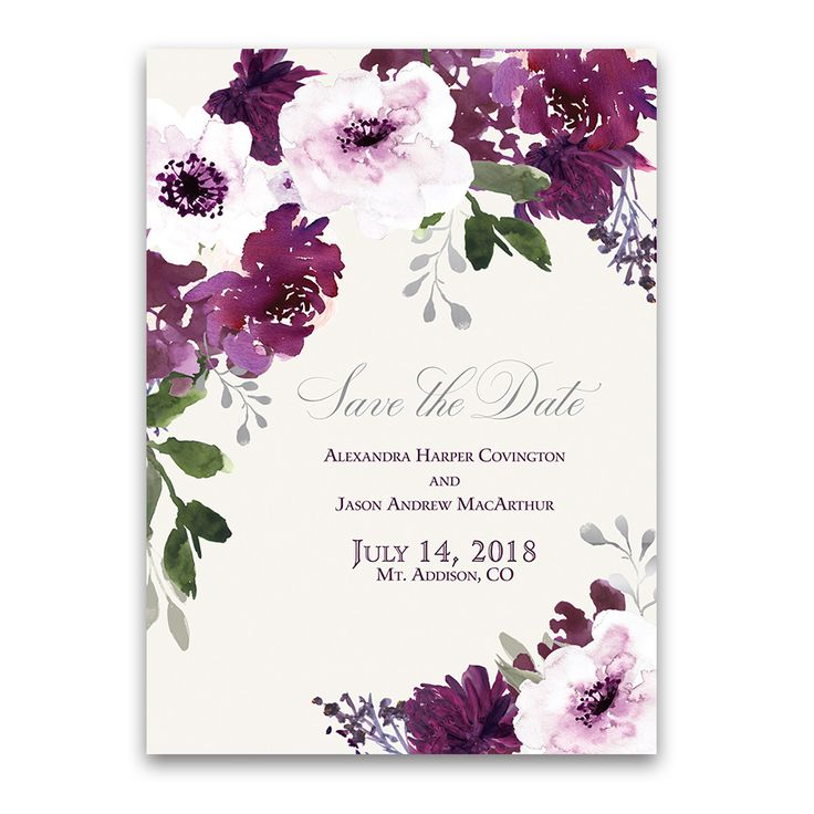 Burgundy Plum Floral Watercolor Save The Date Cards Featuring Bohemian  Style Watercolor Florals With Silver And. Purple And Silver WeddingBurgundy  ...
