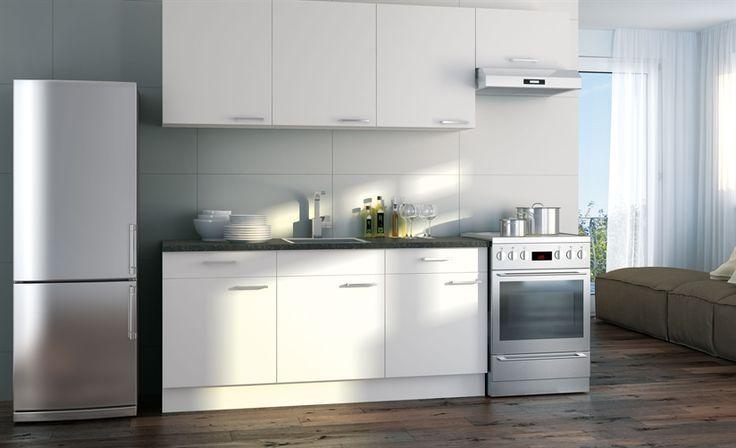 Ecologische keuken met vrijstaande koelkast en vrijstaand