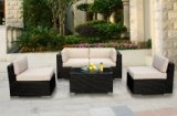 Genuine Ohana Outdoor Patio Wicker Furniture 5pc All Weather Sectional Couch Set