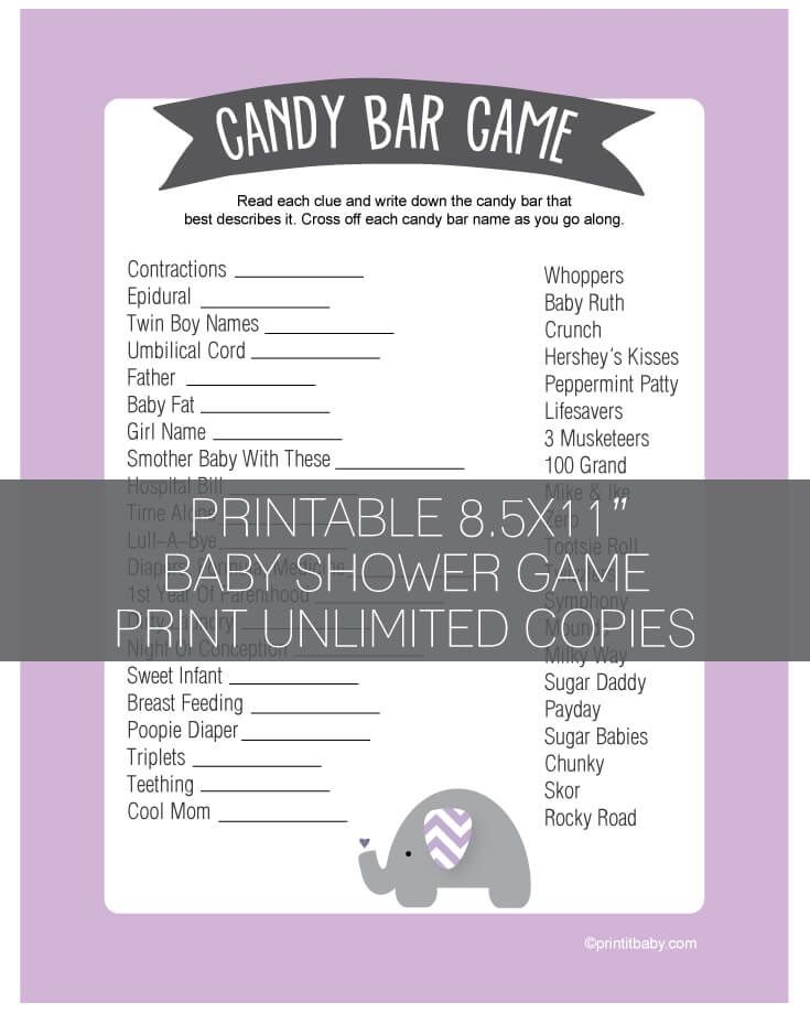Printable Purple Elephant Baby Shower Candy Bar Game - Lavender - Print It Baby