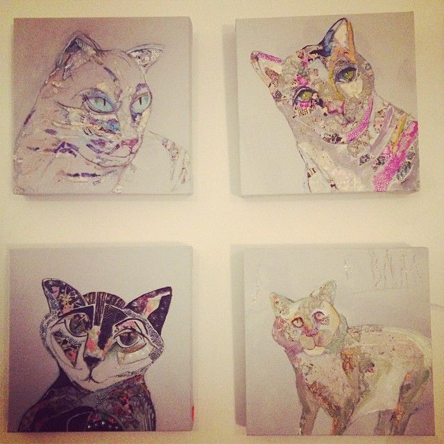 Cats from the Fascinated by Colour Exhibition by Angela Bettess.