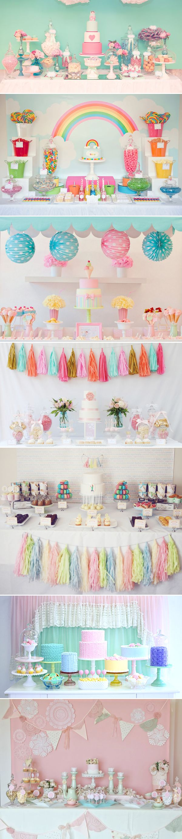 Hermosas mesas de Candy Bar decoradas en colores pasteles. ¡Totalmente inspiradoras!