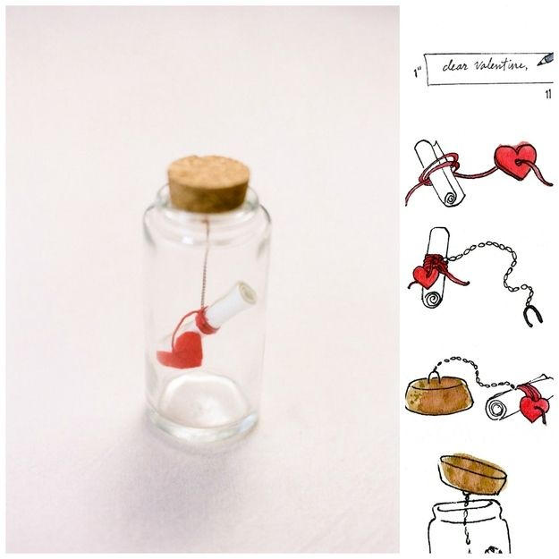 Message in a bottle for valentine day