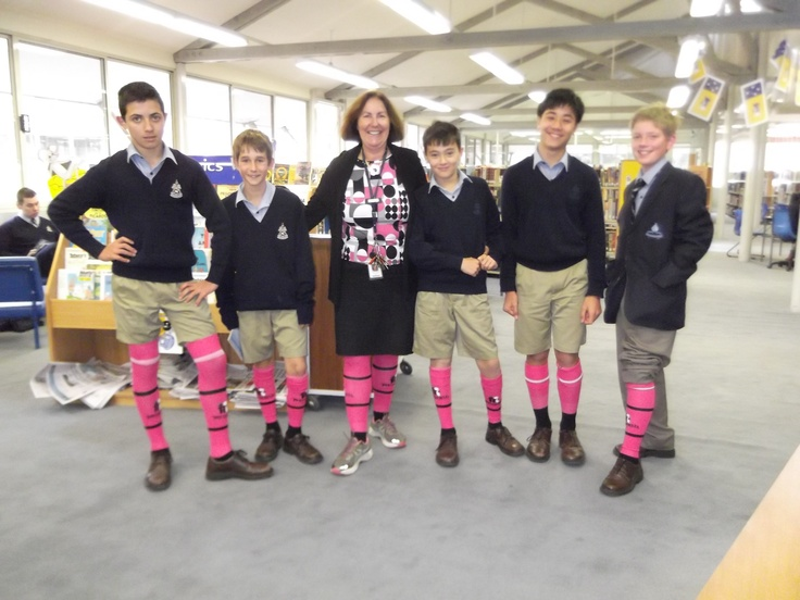 More enthusiastic pink sock supporters - Mrs Dennett and Yr 7s