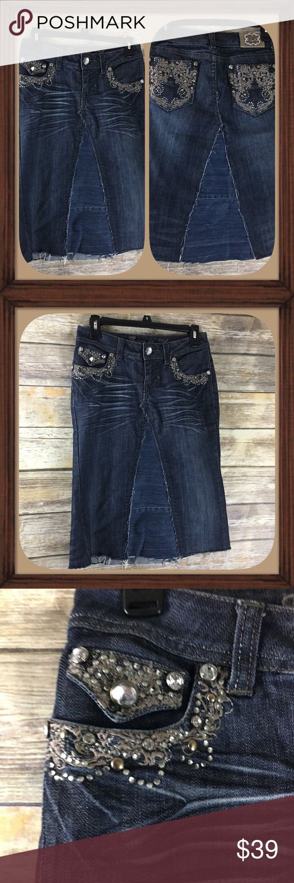 Grace In La Bling Distressed Jean Skirt Size 5 EUC Distressed Bling jean skirt. Size 5. In excellent used condition.   30 inch waist. 24 inches long. grace Skirts Midi