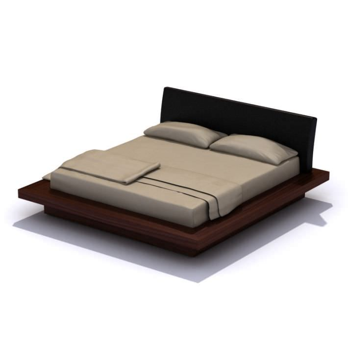 Modern Dark Wood Platform Bed By Evermotion Highly Detailed Model Of Bed With All Textures Shaders And Materials I Wood Platform Bed Platform Bed Bed Design