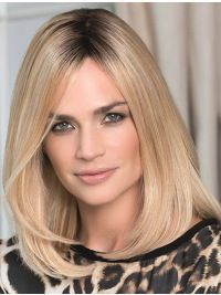 Sassy Blonde Straight Shoulder Length Lace Front Wigs, Indian Remy Lace Front Wigs