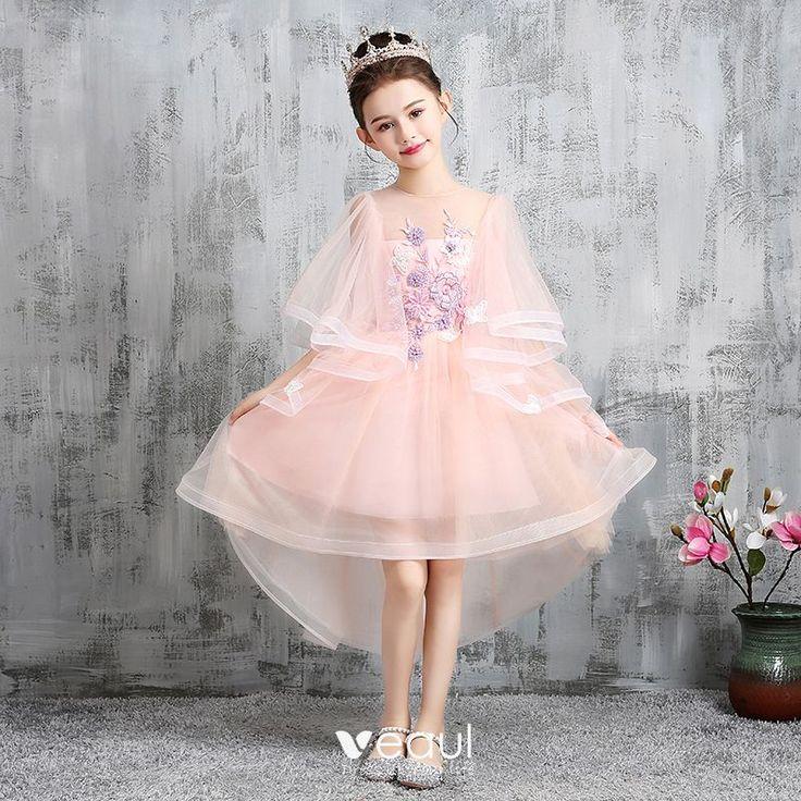 hohes niedriges pearl rosa blumenmaedchenkleider 2020 a linie