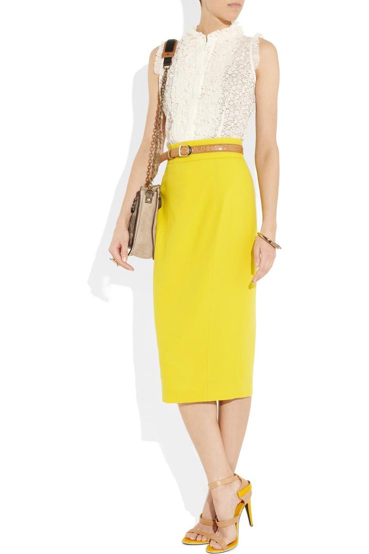L'Wren Scott  Tailored wool-blend pencil skirt