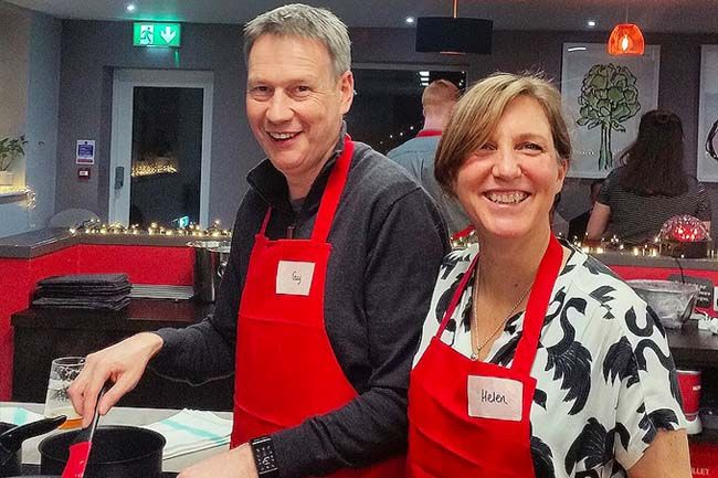 Image of Cooking together Cookery class at Food Sorcery Didsbury Manchester Team Building