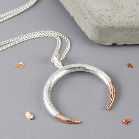 Long Silver Dipped in Rose Gold Horn Necklace at lisaangel.co.uk