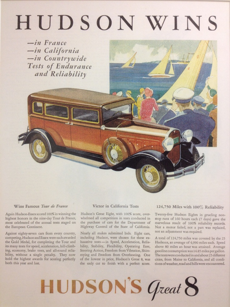 Hudson's Great Eight (1931-32) - Vintage ad at Kelley Blue Book's headquarters