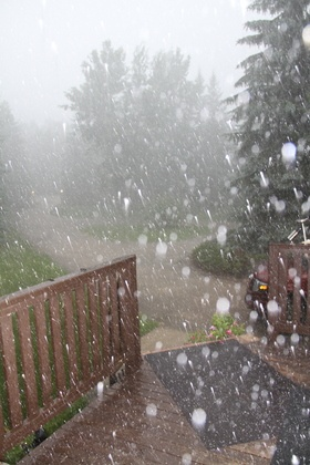 Hail - a form of solid precipitation. It consists of balls or irregular lumps of ice, each of which is referred to as a hail stone. Unlike graupel, which is made of rime, and ice pellets, which are smaller and translucent, hail stones consist mostly of water ice and measure between 0.20 and 7.9 inches in diameter.