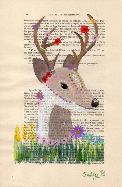 Folk Flower Naive Deer Art Deco Wall Art Colorful Boho 20s