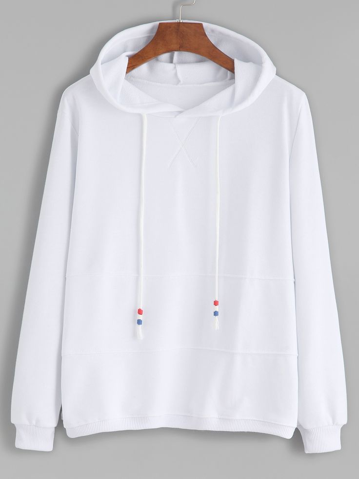 Shop White Contrast Drawstring Hooded Sweatshirt online. SheIn offers White Contrast Drawstring Hooded Sweatshirt & more to fit your fashionable needs.