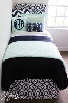 Custom Preppy Dorm Room Bedding Mint & Navy Nautical Designer Bed In A Bag Set