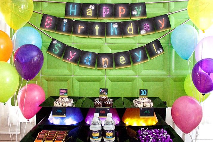 GLOW in the DARK Collection - DIY Printable Neon Birthday Party Decorations // Sleepover // Slumber Party // Flashlight Party by PiggyBankParties on Etsy https://www.etsy.com/listing/71814235/glow-in-the-dark-collection-diy
