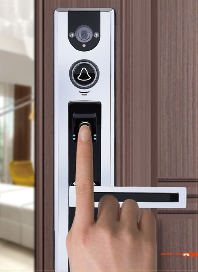 Smart Lock with built-in camera, finger print scanner, intercom & smart phone video streaming capability. It even talks!