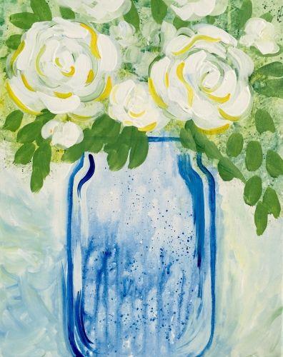 Blue Flower Paint Nite Salem Ma