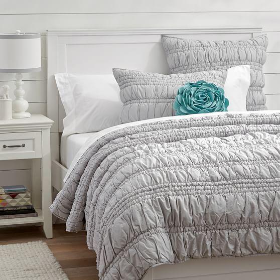 Lauren Ruched Quilt  Sham Light Gray  PBteen  Lauren  Grey bed sheets Girls bedroom