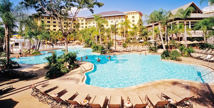 Loews Royal Pacific: Orlando, FL - Close to Universal Studios & Islands of Adventure. Dogs Welcome. Almost all baby gear available to borrow (toys, crib, stroller & baby swing) for your room. Restaurants will puree menu items for tiny diners & Universal characters, like Spiderman & Cat in the Hat, mingle with kids at dinner. Lagoon-style swimming pool & beach. Babysitting service available. Rooms start at $269 and include water taxi rides to Universal Studios.