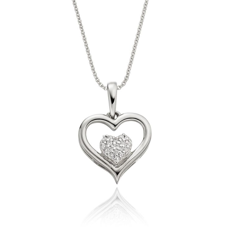 This elegant white gold cluster diamond pendant has 0.05ct diamonds. The pendant features a heart diamond cluster encompassed within a carved mirror finished gold heart. This necklace is made in 9K white gold and is available complete with a beautiful mirror trace chain or if you already have a chain then you have the option to buy just the pendant.