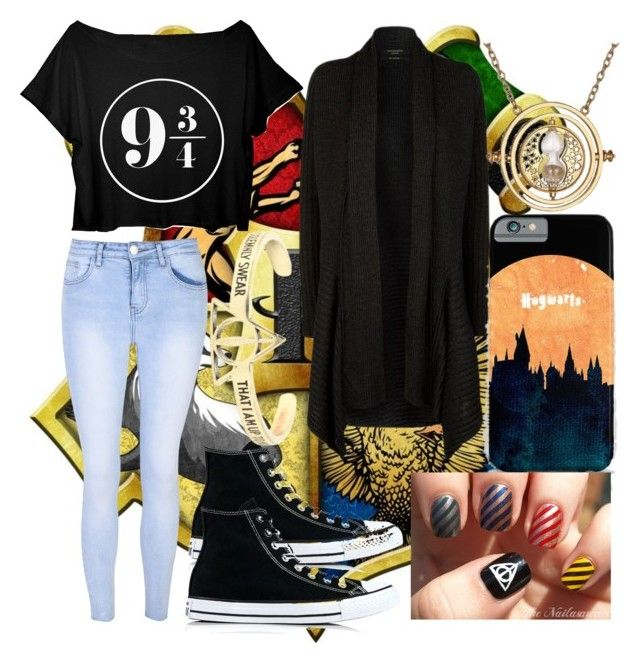 Harry Potter Lover by slytheriner on Polyvore featuring AllSaints, Glamorous, Converse and Warner Bros.