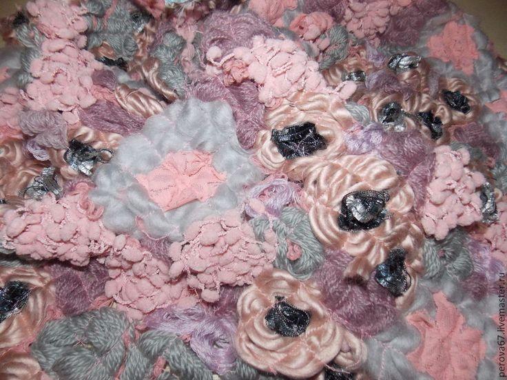 Купить Шарф-бохо в технике крейзи вул Цветочный - розовый, цветочный, шарф, шарф женский