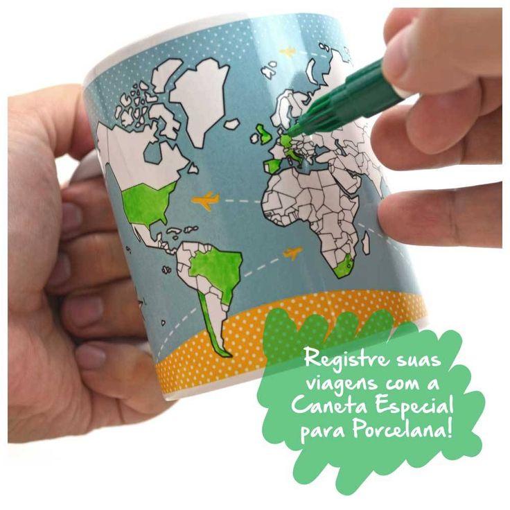 Caneca para marcar suas viagens! Caneca Mapa-Múndi para Colorir + Caneta Especial para Porcelana CAN001A