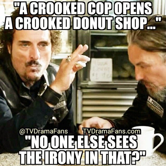 Tig Jokes With Chibs At A Donut Shop Sonsofanarchy Redwood