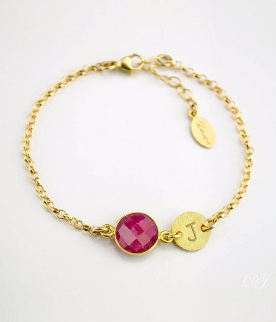 Gemstone Bracelet Natural Ruby Bracelet Birthstone Bracelet Mothers Day Gifts Ruby Silver Bracelet Personalized Gift For Mom