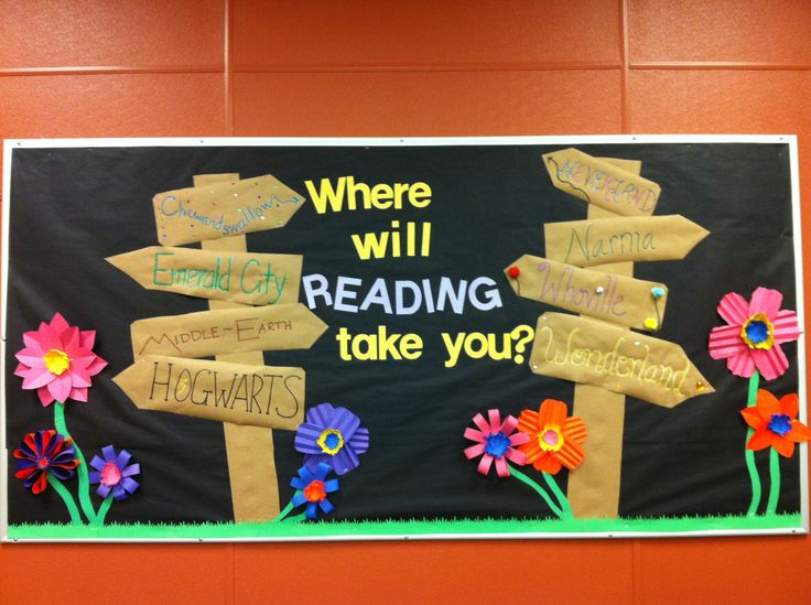 Spring library bulletin board. Inspired by various other pinners! Close ups of signs are on this board.