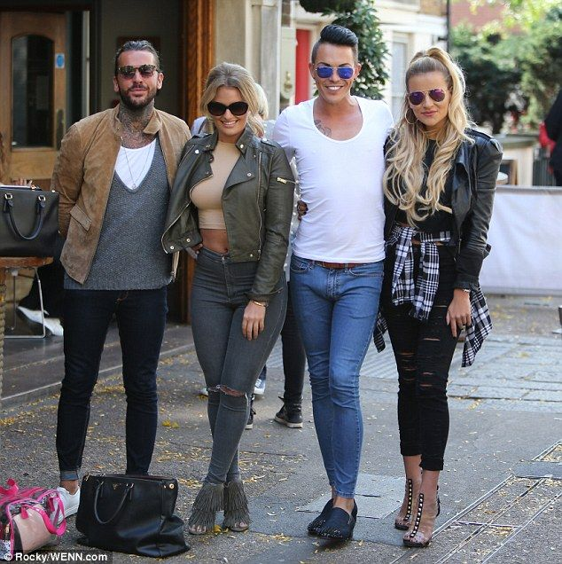 Drinks o'clock! TOWIE cast members (from left) Peter Wicks, Danielle Armstrong, Bobby Norr...