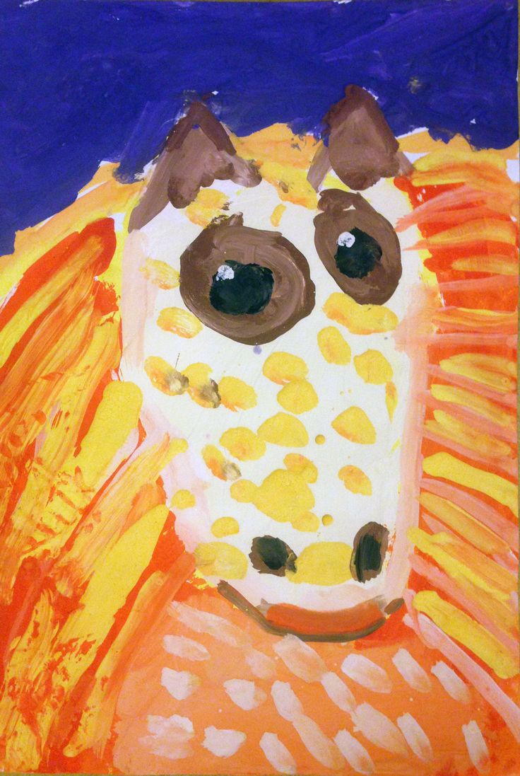 """A fire horse"". Gouache.  Max, 4 years old."