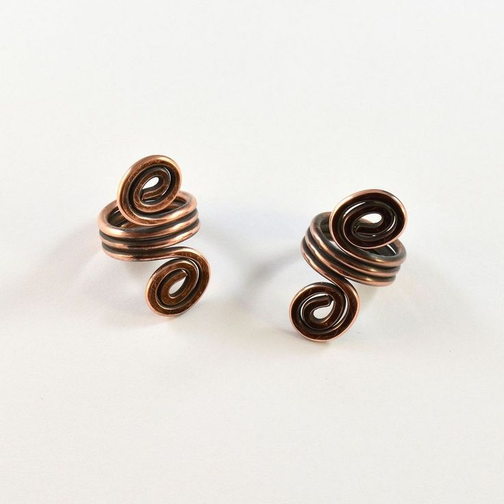 2 Pcs Spiral Antiqued Copper Viking Hair Beads Beard Jewelry Dreadlock Accessory #MbaHandmade
