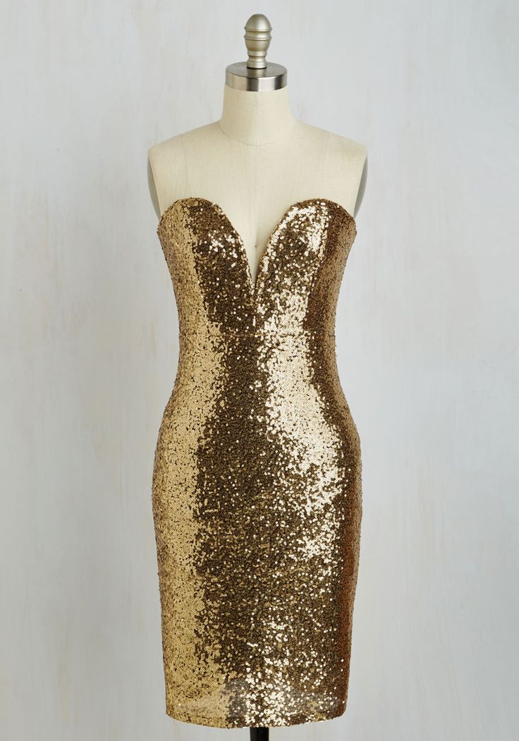 Lights, Glamour, Fashion! Dress - Gold, Solid, Sequins, Party, Holiday Party, Homecoming, Sheath, Sleeveless, Woven, Better, Sparkly2015, Short