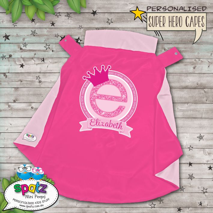 Once Upon A Time There Was A Princess Personalised Super Hero Kids Cape -- Pink / Light Pink  Is it a bird? Is it a plane? Nope, its way better than that. Its an awesome personalised SPATZ Mini Peeps® Personalised Kids Super Hero Cape! Complete and unique with a SUPER AWESOME design with your child's name placed on the back.