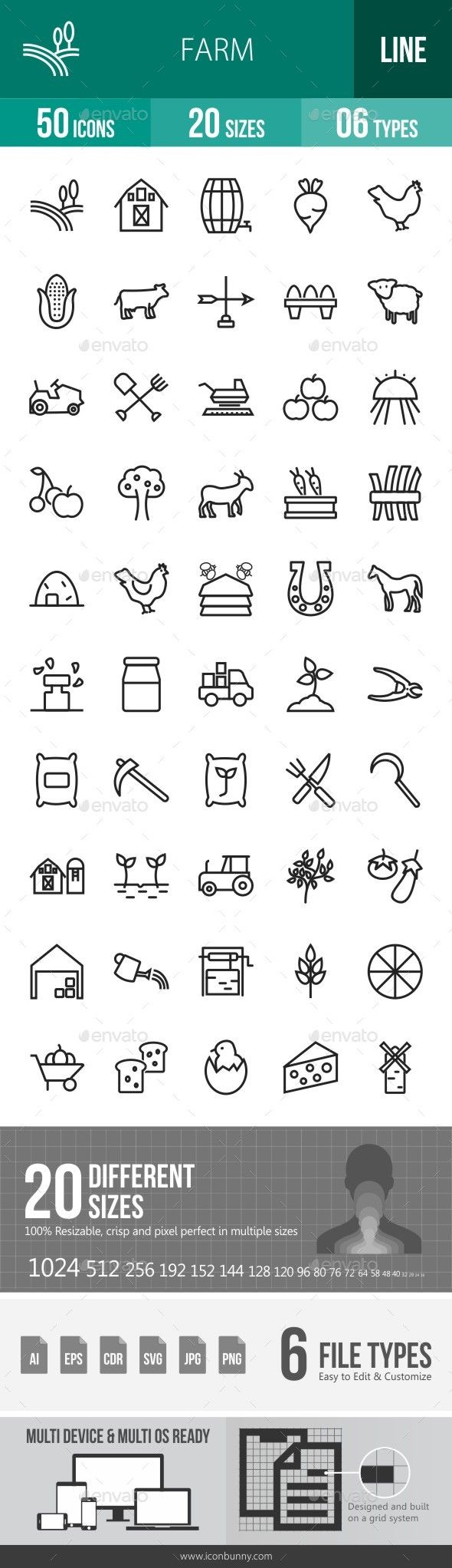 Farm Line Icons. Download here: http://graphicriver.net/item/farm-line-icons/16791510?ref=ksioks