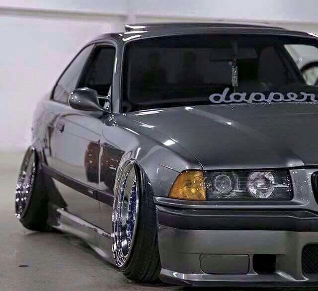 BMW E36 M3 grey slammed stance dapper